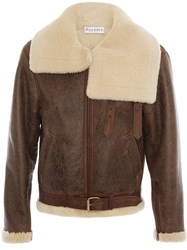 J.W.Anderson Jw Anderson Shearling Collar Aviator Jacket Brown