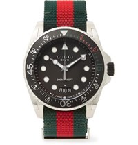 Gucci Dive 45Mm Stainless Steel And Webbing Watch Black
