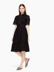 Kate Spade Eyelet Flounce Shirtdress Black