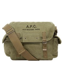 A.P.C. Recuperation Heavy Canvas Shoulder Bag Green