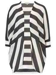 Betty And Co. Stripe Batwing Cardigan Black Silver
