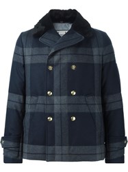 Moncler Gamme Bleu Padded Plaid Peacoat Blue