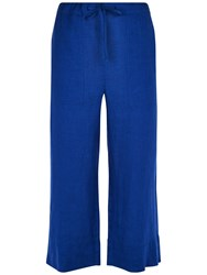 Jaeger Linen Cropped Trousers Bright Blue
