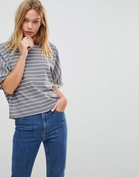 Native Youth Relaxed Stripe T Shirt Grey
