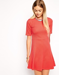 Asos Skater Dress With Fluted Hem In Texture Coral