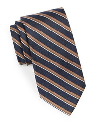 August Silk Double Striped Tie Navy