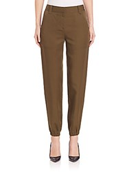 Rebecca Taylor Embroidered Twill Pants Hunter