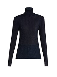 Vanessa Bruno Freely Roll Neck Ribbed Knit Sweater Navy