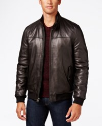 Cole Haan Men's Leather Bomber Jacket Black