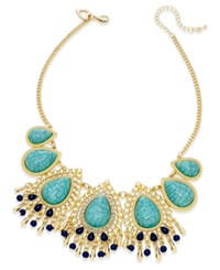 Thalia Sodi Gold Tone Blue Stone Peacock Statement Necklace Only At Macy's