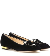 Charlotte Olympia Kitty Flat Velvet Slippers Black