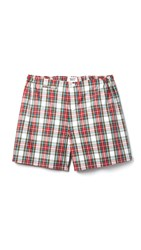 Sleepy Jones Jasper Garland Plaid Boxer Shorts Red Green Cream