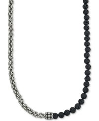 Esquire Men's Jewelry Lava Bead Chain Necklace In Stainless Steel Only At Macy's Black