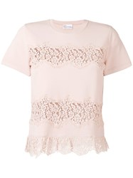 Red Valentino Lace Applique Knitted T Shirt Pink Purple