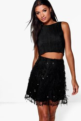 Boohoo Tassled Sequin Mini Skirt Black