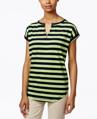American Living Striped Split Neck Top Only At Macy's Capri Navy Creole Green