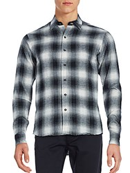Raleigh Denim Plaid Cotton Shirt Black White
