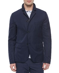 Vince Three Button Tech Blazer Navy