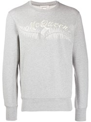 Alexander Mcqueen Feather Embroidered Sweatshirt Grey