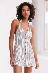 Cooperative Parker Button Front Halter Romper Black And White