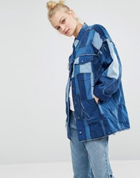 Monki Patchwork Oversized Denim Jacket Blue