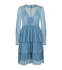 Pinko Pleated Lace Dress Female Blue