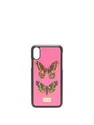 Dolce And Gabbana Butterfly Print Iphone X Case Pink Multi