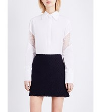 Nina Ricci Floral Lace Panel Cotton Poplin Shirt White