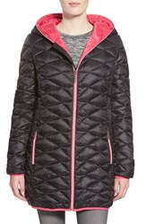 Women's Betsey Johnson Packable Contrast Zip Quilted Hooded Coat