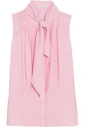 Oscar De La Renta Pussy Bow Pleated Silk Crepe Chine Top Baby Pink