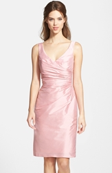 Alfred Sung Satin Side Pleat Satin Sheath Dress Twirl