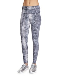 Varley Pacific Croc Print Full Length Sport Leggings Women's Size Medium 6 8 Silver Croc