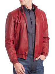 Armani Collezioni Textured Red Leather Jacket