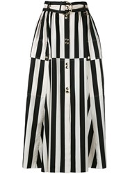 Nina Ricci Striped A Line Midi Skirt Women Silk 36 Black