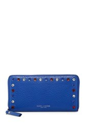Marc Jacobs Standard Studded Continental Leather Wallet Blue