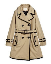 Kate Spade New York Contrast Trim Top Liner Trenchcoat Khaki Size S Xl