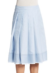 Pauw Pleated Silk Midi Skirt Blue