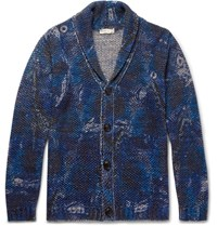 Etro Shawl Collar Printed Cotton And Linen Blend Cardigan Blue