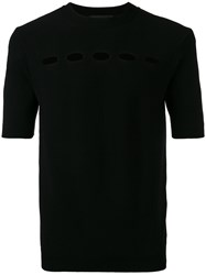 Diesel Black Gold Oval Cut Out Knitted T Shirt Black