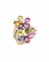 Bvlgari Estate 18K Multicolored Sapphire And Diamond Flower Cocktail Rings Size 6.25
