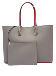 Christian Louboutin Cabata Spike Embellished Leather Tote Light Grey