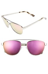 Kendall Kylie Women's Lexi 56Mm Navigator Sunglasses Shiny Silver Pink Mirror Shiny Silver Pink Mirror