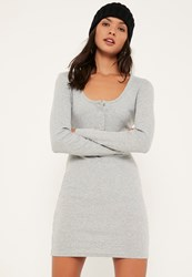 Missguided Grey Long Sleeve Half Placket Popper Dress