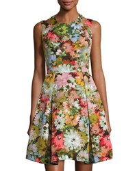 Neiman Marcus Floral Print Fit And Flare Dress Coral