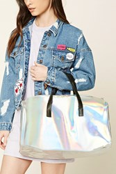 Forever 21 Holographic Travel Bag Silver Multi