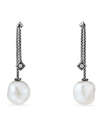 David Yurman Solari Silver Freshwater Pearl And Diamond Drop Earrings