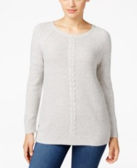 Karen Scott Cable Knit Crew Neck Sweater Only At Macy's Smoke Grey Heather Marl