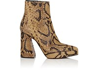 Proenza Schouler Block Heel Stamped Leather Ankle Boots Brown