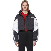 Adidas Originals Black And White Cropped Down Jacket