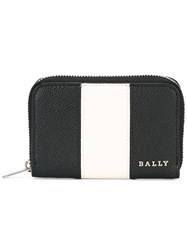 Bally Striped Zip Up Wallet Black
